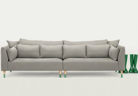 Gray sofa with dipped legs by Mosso
